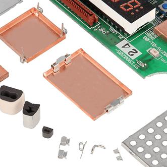PCB dobozok, tömítések, házak, földelő klipek és táblák